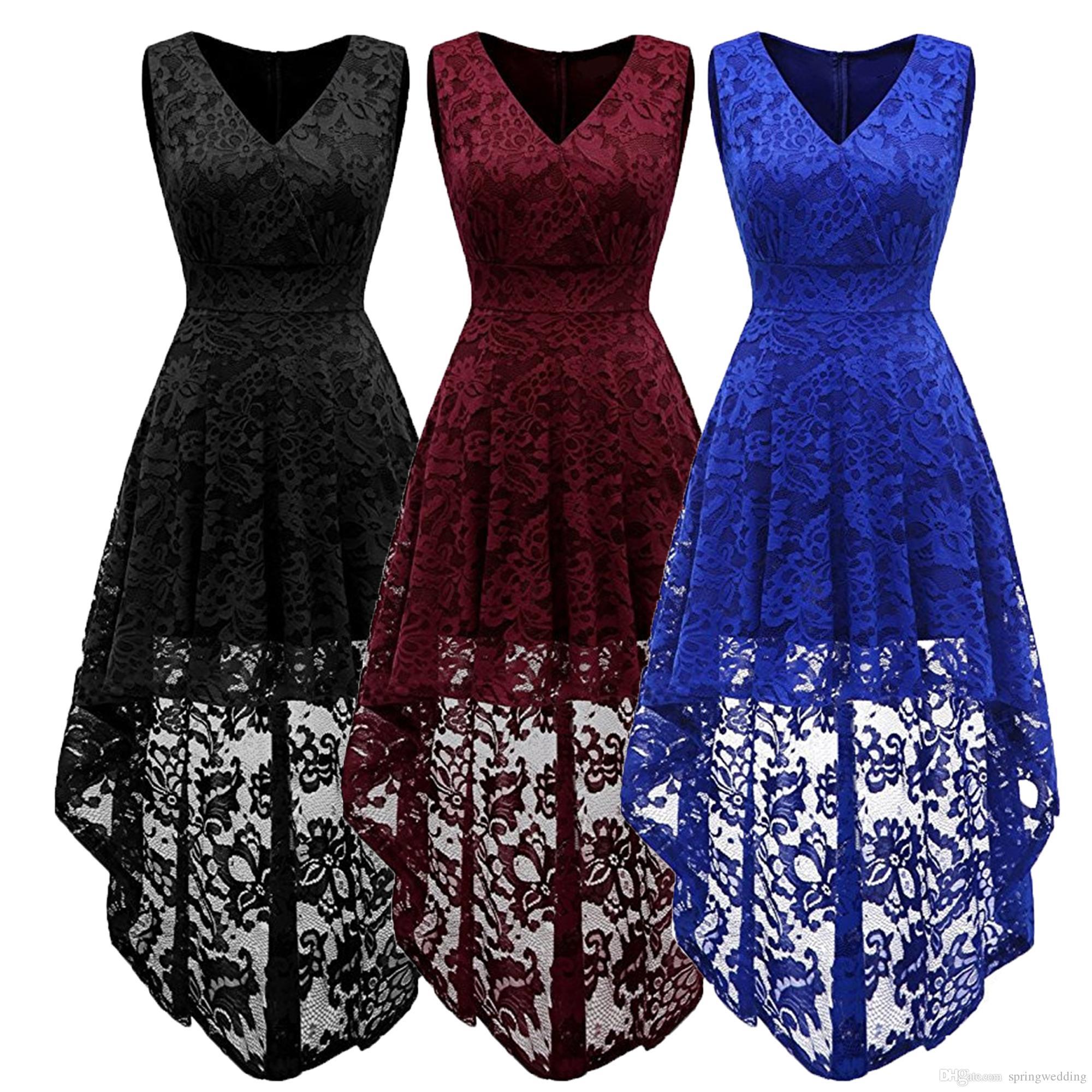 3f4ddc59876 Simple Cocktail Dresses Lace Short Front Long Back Dresses Elegant High Low  V Neckline 2018 Sexy Women Special Occasion Dress FS3896 Sundresses For  Sale ...