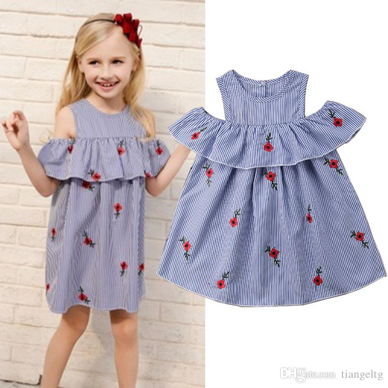 923c77726a6 2019 Baby Girls Striped Dresses Off Shoulder 3D Rose Embroidered Stringy  Selvedge Strapless Elastic Cotton Long Skirts Toddler Kids Clothing 2 7T  From ...