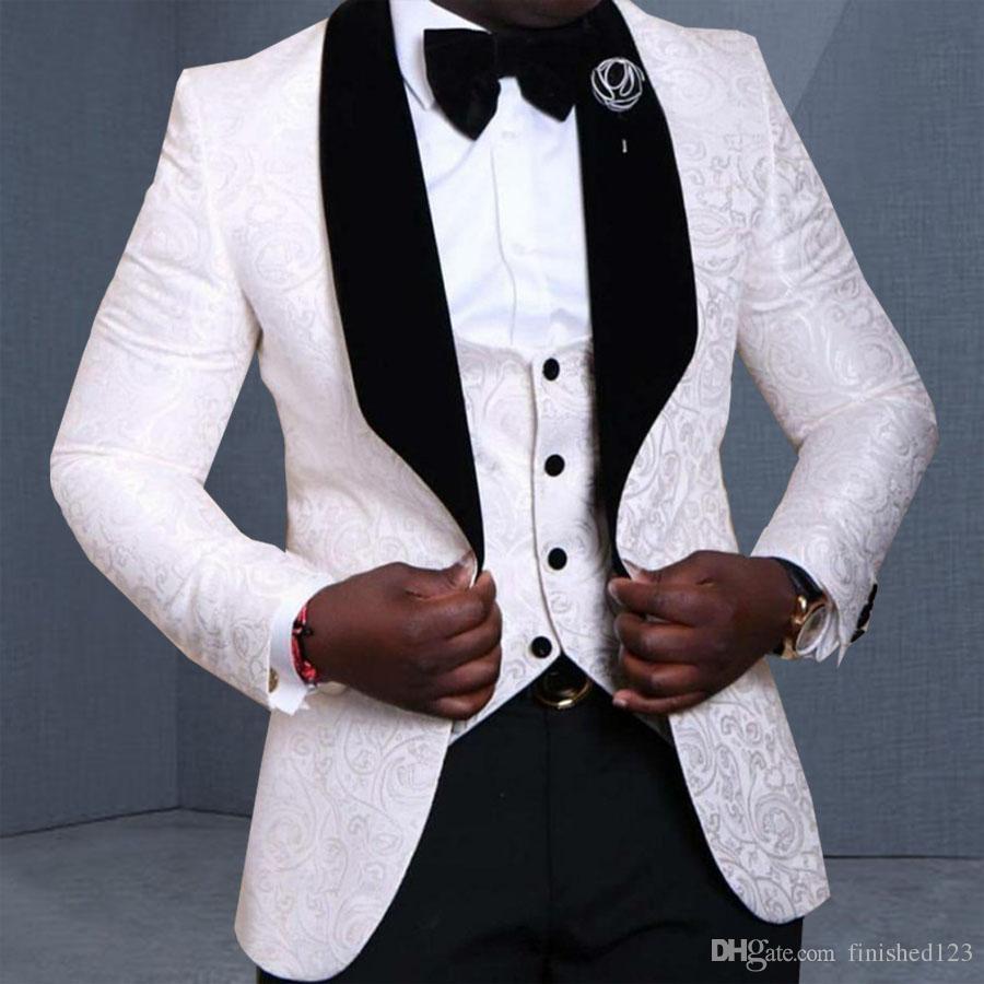 Mükemmel Stil Bir Düğme Beyaz Damat Smokin Şal Yaka Groomsmen İyi Adam Erkek Düğün Takım Elbise Suits Ceket + Pantolon + Yelek + Kravat NO: 1098