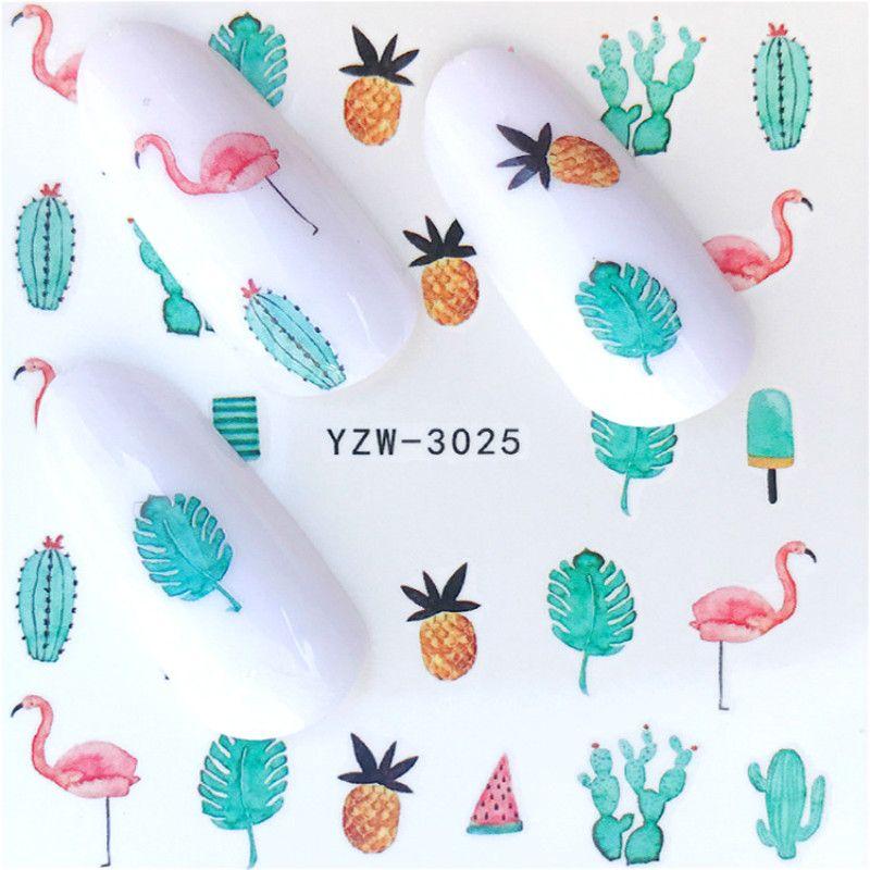 Acquista 2 Fogli Adesivi Unghie Kawaii Flamingo Ananas Cactus Nail