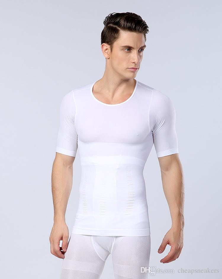 Upgraded version Men's Body Shapers Short Sleeve t-shirts Waist Abdomen Chest Seamless Underwear Body Shaped Tights