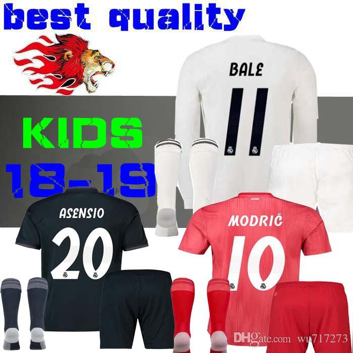 8321b3395 18 19 Real Madrid Kids Soccer Jersey Kits Boys Child Third 2019 2018 HOME  Asensio BALE RAMOS Football Shirts AWAY ISCO Casemiro Long Sleeve Jersey  Online ...
