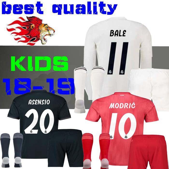 18 19 Real Madrid Niños Camisetas De Fútbol Kits Niños Niños Tercero 2019  2018 INICIO Camisetas De Fútbol Asensio BALE RAMOS AWAY ISCO Casemiro Manga  Larga ... 4c05e42d8c153