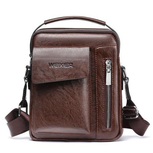 New Trendy Men Fashion Crossbody Bag Small Casual Briefcases Pu