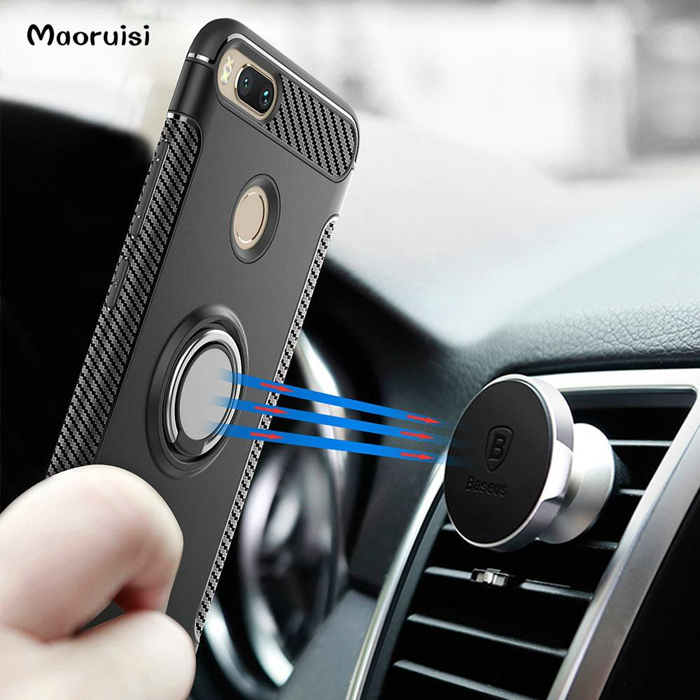 cheap for discount af906 0fb81 Hybrid Case for Xiaomi Mi A1 Magnetic Car Phone Holder Finger Ring TPU+PC  Cover for Xiaomi Mi 5X Mi A1 Phone Case back cover
