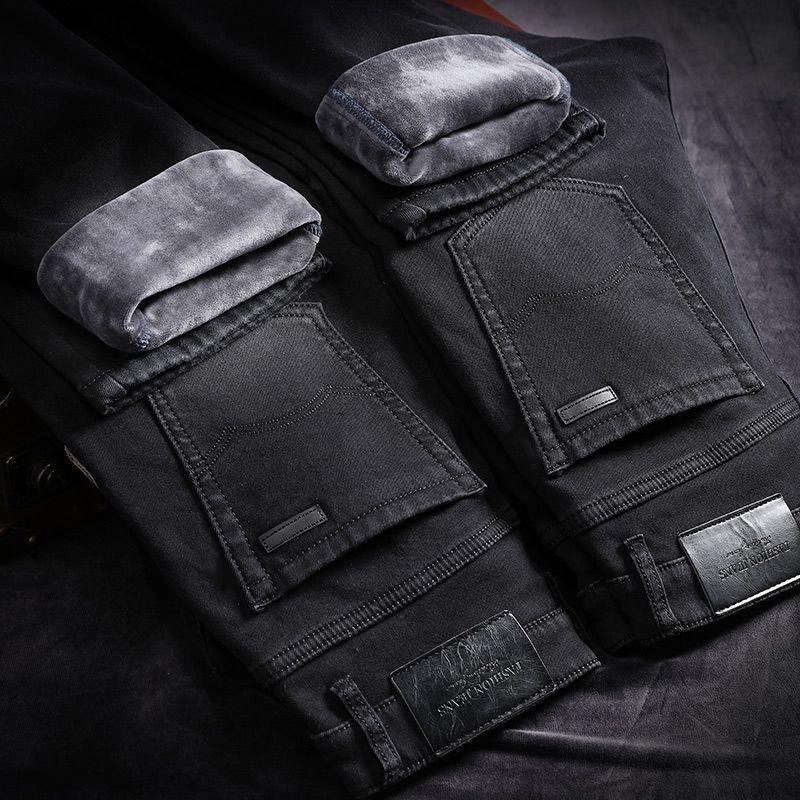 bcc1f6a45 Winter Jeans For Men Men'S Warm Pantalones Pitillos Hombre Black Streetwear  Jean Biker Calca Masculina Pants Street Slim Marcas