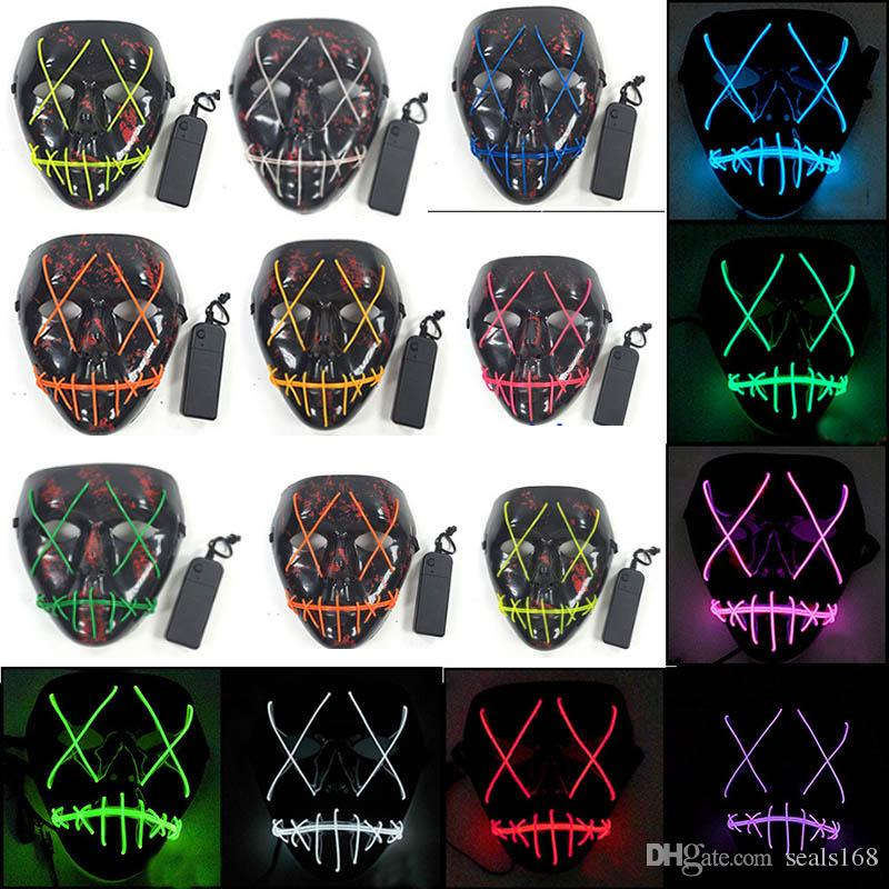 a0a5f908f55a LED Halloween Masks Party Mask EL Wire Glowing Mask Black Masquerade ...
