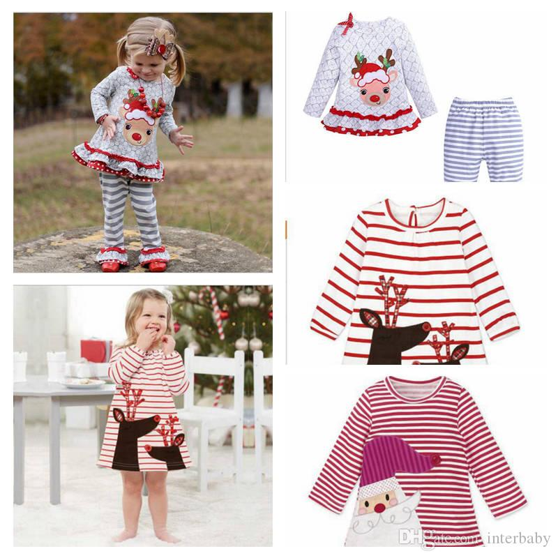 ec933f437d6 2019 Girls Christmas Clothes Toddler Santa Deer Print Dress Baby Elk Print  Top   Striped Pants Set Toddler Long Sleeved Casual Clothing YL570 From  Interbaby ...