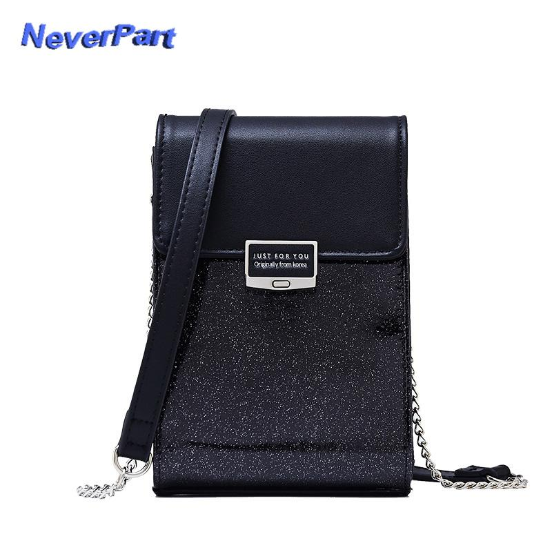 9a491eda5d6f 2018 New Fashion Glitter Mini Shoulder Bags Women Artificial Leather Female  Messenger Crossbody Bag Cell Phone Lady Purses Girl