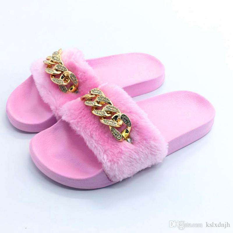 d0f3436141e20 Autumn Winter Fashion Women Slippers Fluff Rhinestones Flat Flip Flop Women  Indoor Slippers Outdoor Women S Casual Shoes Home Slide Shoes 9 Slipper  Socks ...