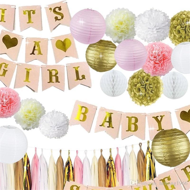 Grosshandel Madchen Baby Shower Party Supplies Ornament Banner Papier