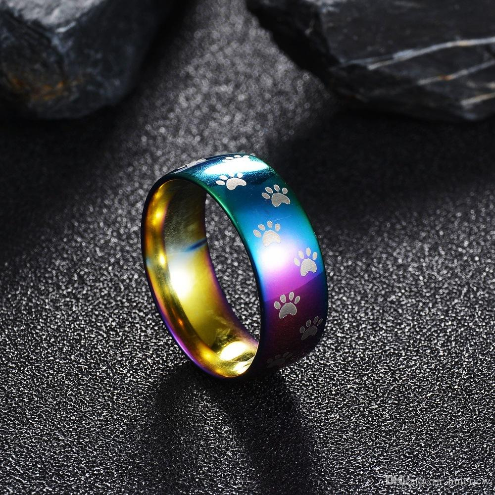 Mens Jewelry Vintage Silver Plated Cute Cat Dog Bear Paw Cat Claw Rainbow Ring 316L Stainless Steel Rings for Men Lord Wedding Band Men Ring