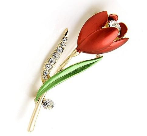 e60d0a319 2019 OneckOha Rhinestone Tulip Brooch Pin Enameled Pin Flower Brooch From  Sihuoguo, $20.21   DHgate.Com