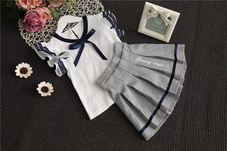 Yürüyor Çocuk Bebek Kız Giysileri Set T-shirt Tops + Tutu Elbise 2 ADET çocuk giyim seti