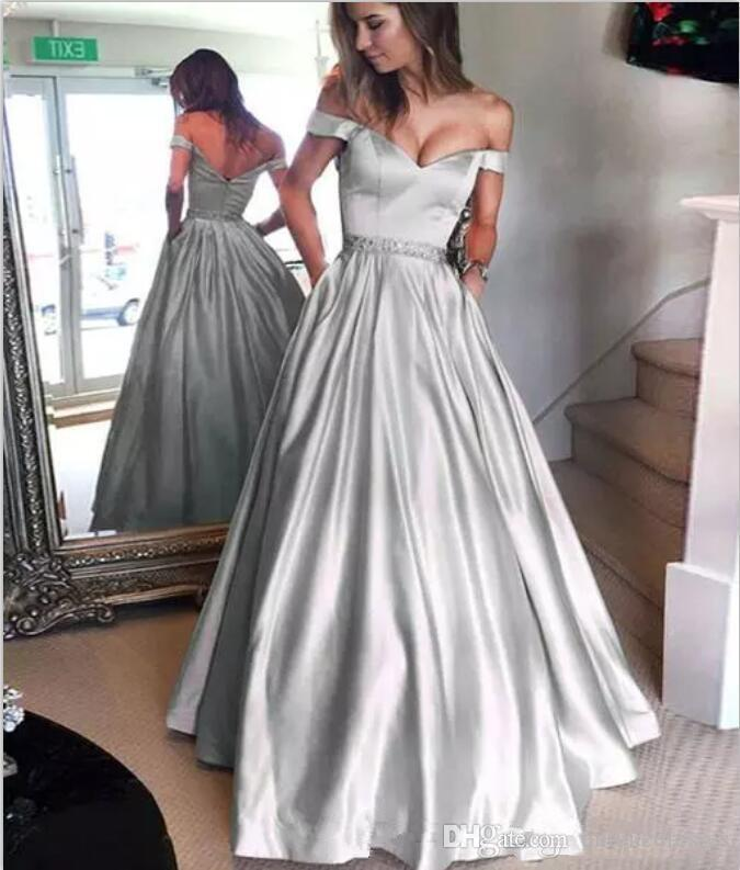 2018 Fashion Silver Prom Dresses With Pockets Off Shoulder Beaded ...