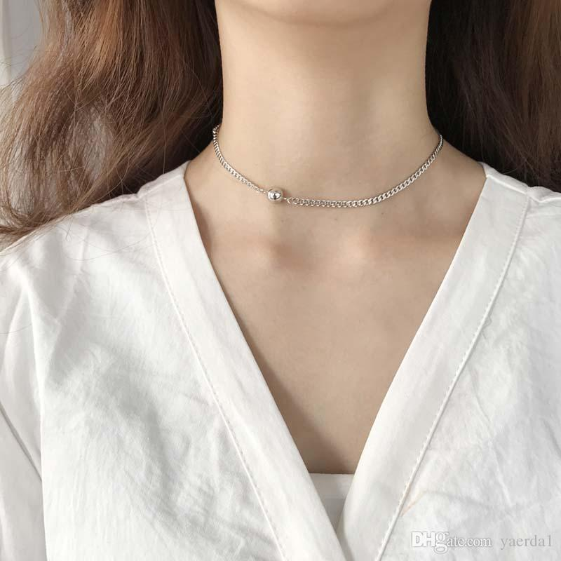 kendra scott silver round bead fine chain necklace choker chain female Japanese and Korean sweet clavicle chain wholesale Send packaging
