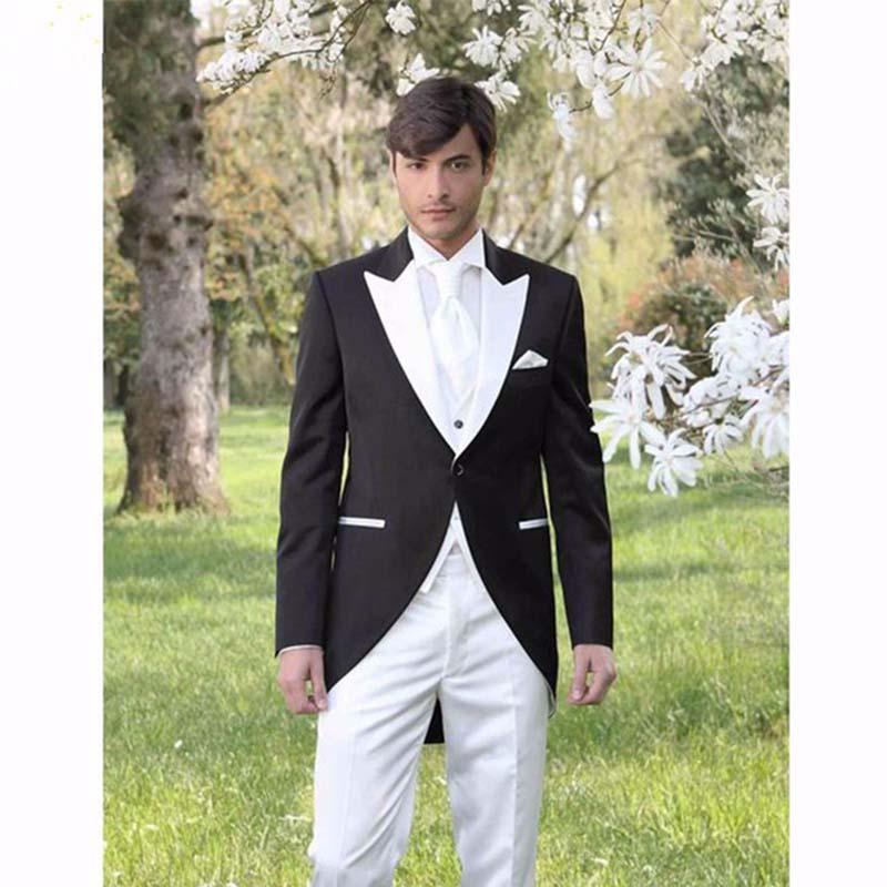 b14e96b254cb 2017 Italian Morning Style Gentleman men Suit Black And White Groom Tuxedos  3 Piece Mens Wedding Prom Suits (Jacket+Pants+Vest)