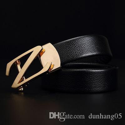 Z letter double layer leather men's belt casual business automatic buckle leather belt wholesale