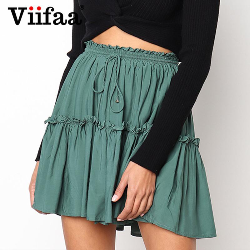 257b13b616 2019 Viifaa Pleated Mini Skirt Green Casual High Waist Ruffle Skirts Womens  2018 School Summer Short Skirt From Vikey10, $48.06 | DHgate.Com