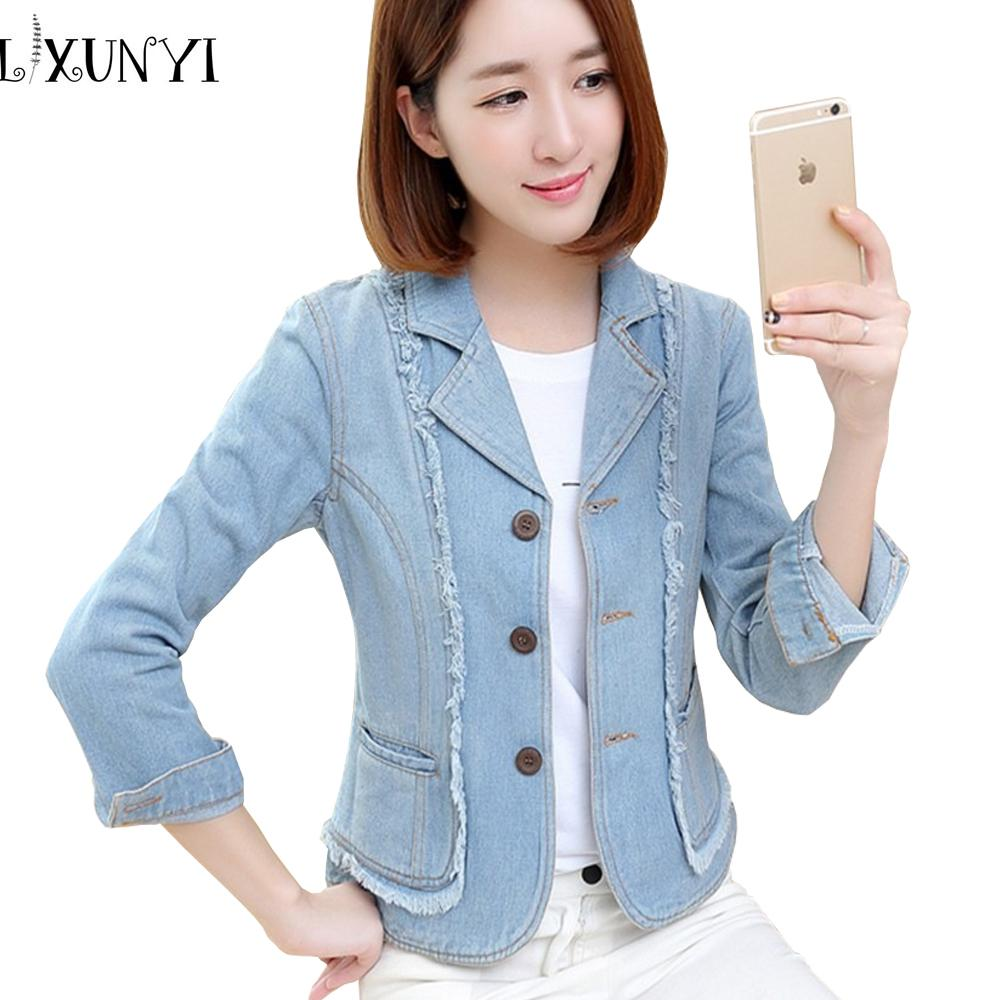 7fd7405e23c Wholesale Women s Denim Blazer 2018 Spring Autumn Female Jacket ...