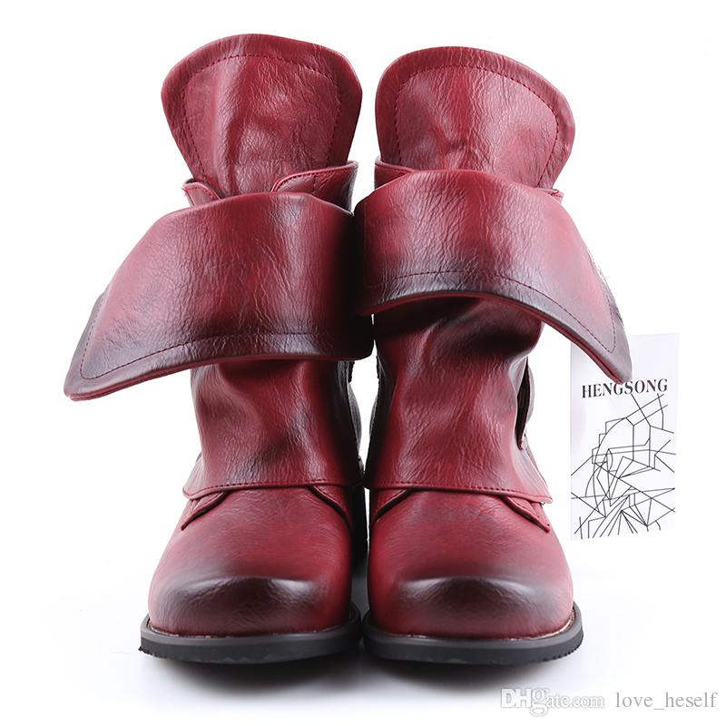 73267f5c6c03a Fashion Winter Woman Ladies Horse Riding Boots Vintage Combat Punk Ankle  Shoes Women Genuine Leather Short Boots Cute Shoes Boots From Love_heself,  ...