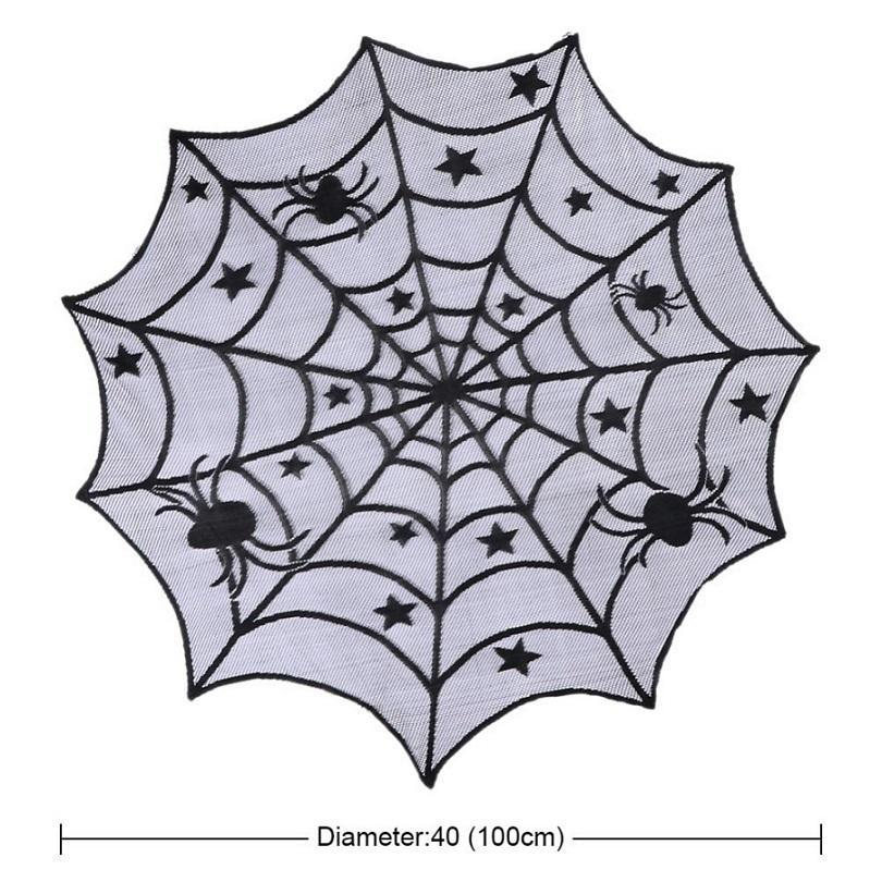 Black Lace Spiderweb Halloween Party Home Decoration Tablecloth Horror Props Spider Web Fireplace Mantle Cover Festival Supplies