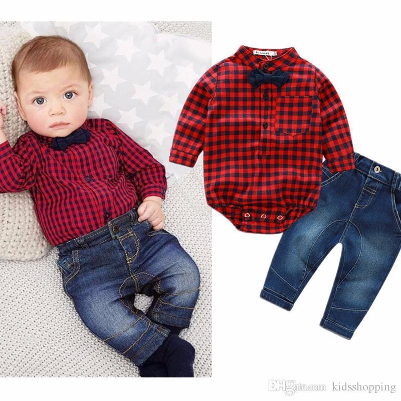 ac45f0cb0b Compre Recém Nascidos Roupas Novas Xadrez Vermelho Macacão Camisas + Calça  Jeans Bebê Meninos Roupas Bebes Conjunto De Roupas De Kidsshopping