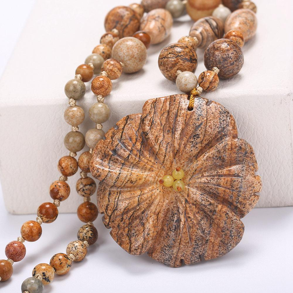 5*5cm Natural Stone Pendants & Necklaces Big Boho Necklaces Ethnic Bohemian Jewelry Statement Flower Carving Agate Rough Amber