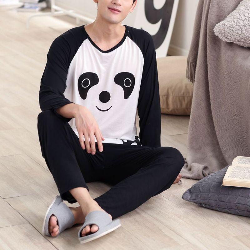 KLV Couples Women Men Autumn Cartoon Panda Long Sleeve Pullover Pants Pajamas Set Sleepwear Casual Lounge Wear New M/L/XL/2XL