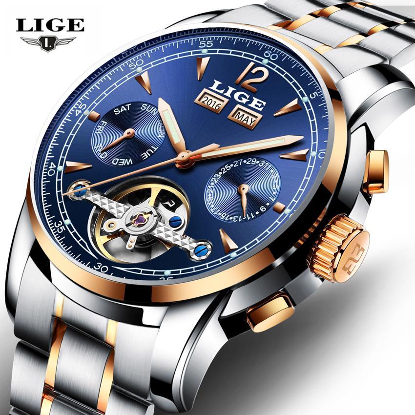 a756231dc293 Compre Relojes LIGE Hombre Automático Mecánico Reloj Deportivo Hombres  Marca De Lujo Relojes Casuales Reloj De Pulsera Para Hombre Ejército Reloj  Relogio ...