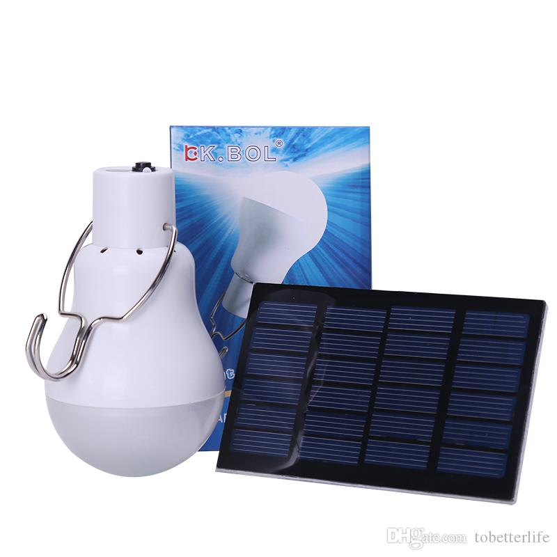 2019 Solar Panel LED Bulb Light Portable Indoor Outdoor Camping 15W 110lm Lamp
