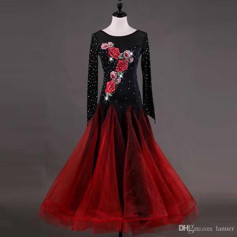 58e209fa4 2019 Adult/Girls Ballroom Dance Dress Modern Waltz Standard Competition Dance  Dress Long Sleeve Flower Embroidered Rhinestone Dress Free Custom From  Lanuer, ...