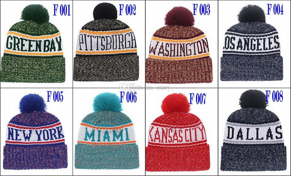 8374ae10829 New Winter Beanies Football Beanies 2018 Sideline Cold Weather Sport Knit  Hat Pom Pom Hats Hot Team Color Knits Skull Caps Football Beanies Winter  Beanies ...