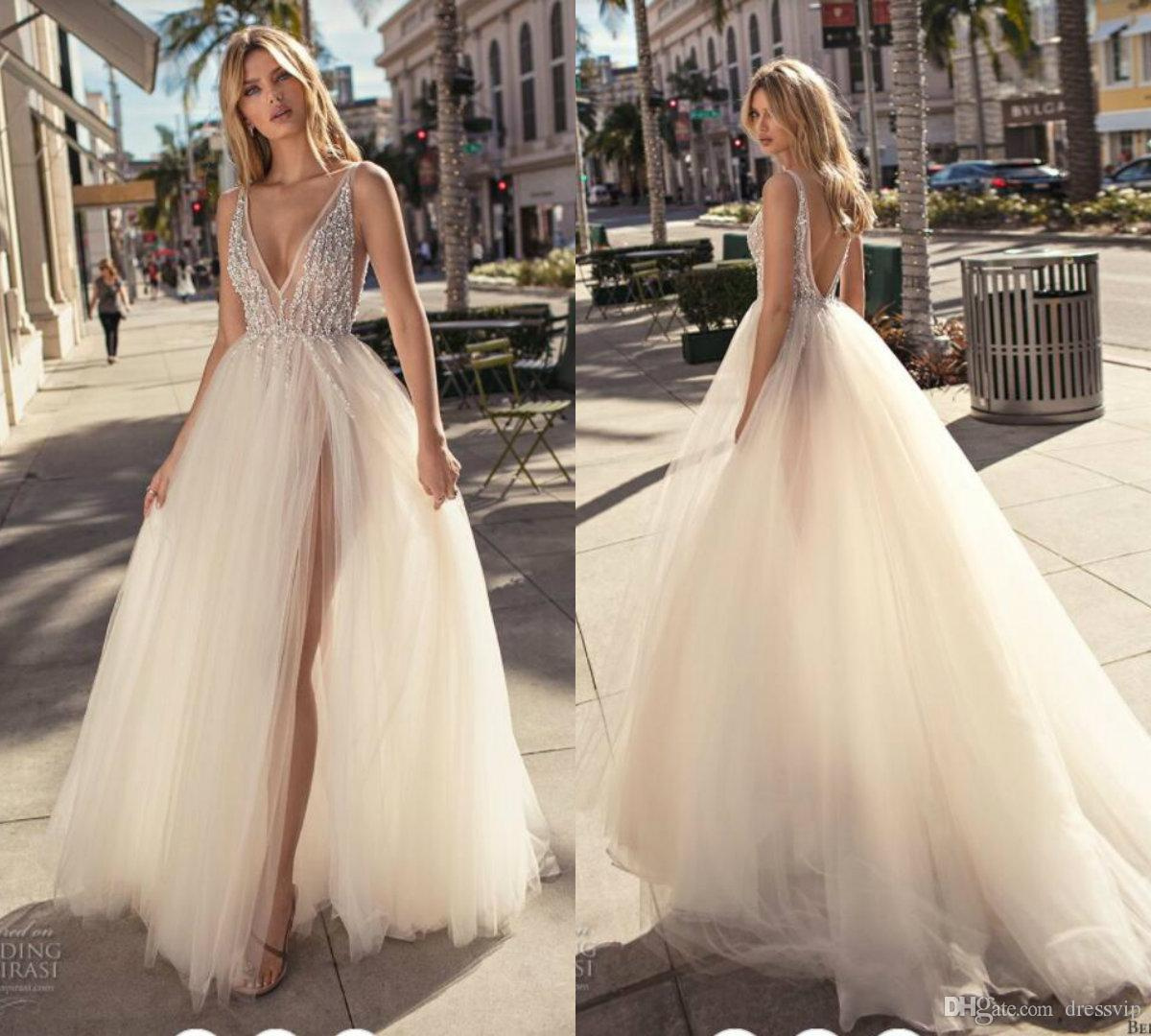 Discount 2019 Muse Berta Bohemian Wedding Dresses Deep V