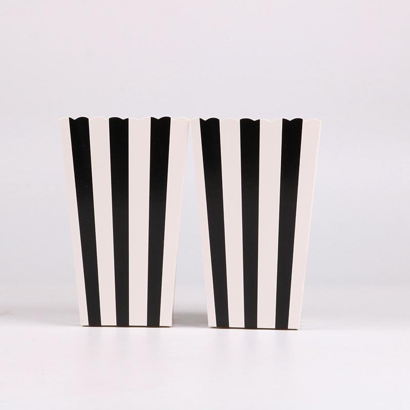 Simple Black And White Stripes Popcorn Boxes Birthday Party Wedding
