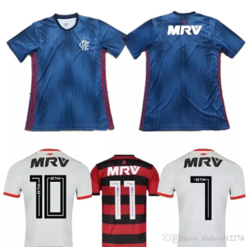 d1d686d06e9ec 2018 2019 Camiseta De Fútbol Flamengo 18 19 Brasil Visitante En Casa 3º  ELANO HERNANE 7 E. Ribeiro 9 GUERRERO 10 DIEGO ZICO VINICIUS JR Camiseta De  Fútbol ...