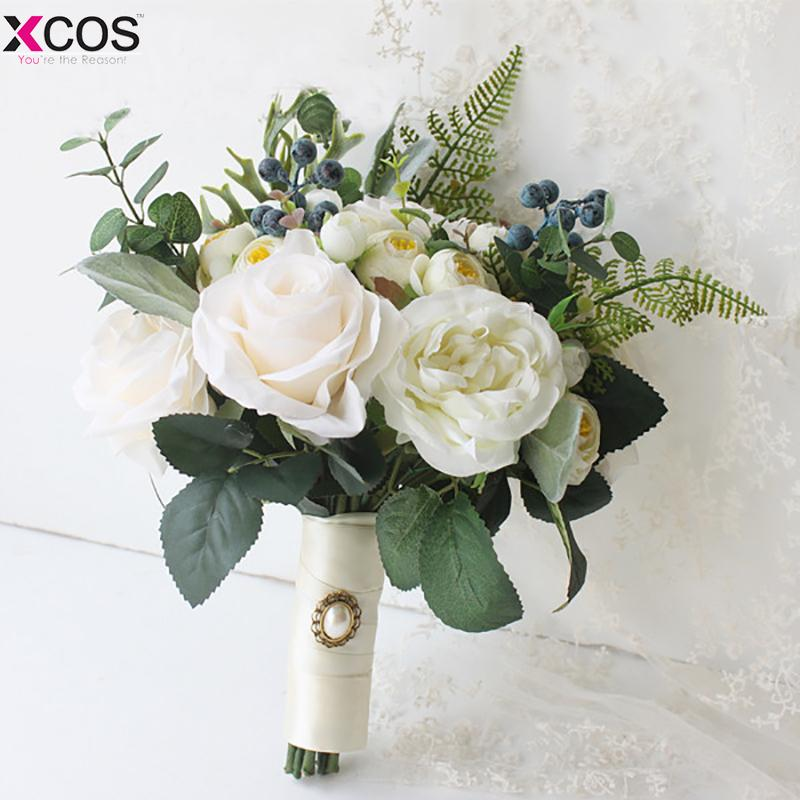 New 2018 Bridal Bouquet High Quality Ivory Rose Throw