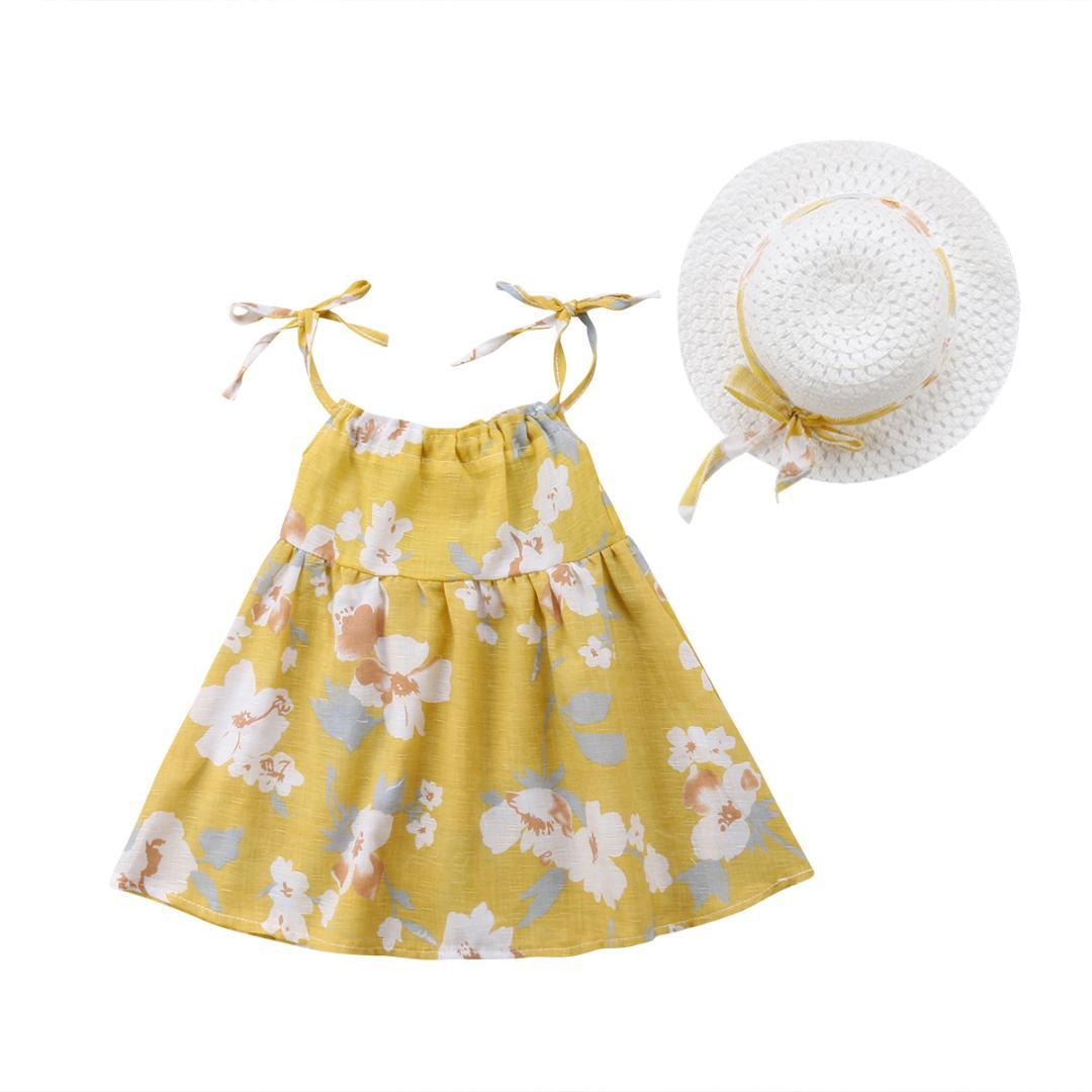 8bbbb1ea9bf2 Cute Kid Girls Clothing Dresses Sleeveless Floral Summer Cute Party Dress  Sundress Hat Summer Clothes Baby Girls 0 3T UK 2019 From Curd
