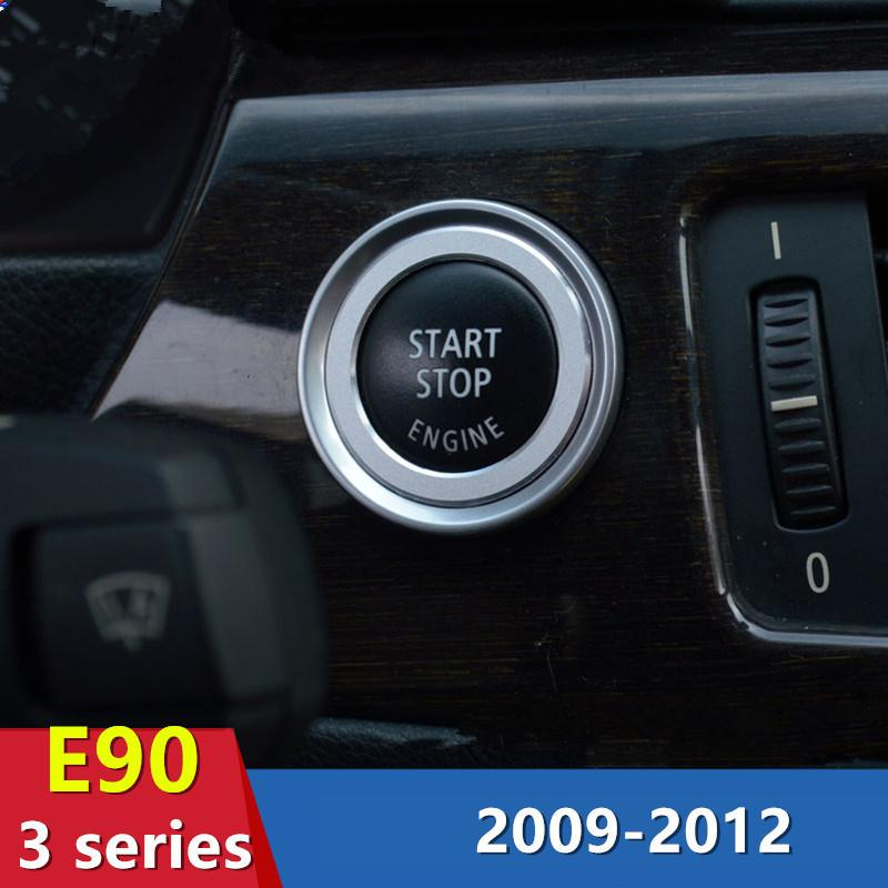 One Button Start Decorative Circle Sequin For Bmw 3 Series E90 Aluminum Car Keyhole Cover Trim Strip Motor Accessories