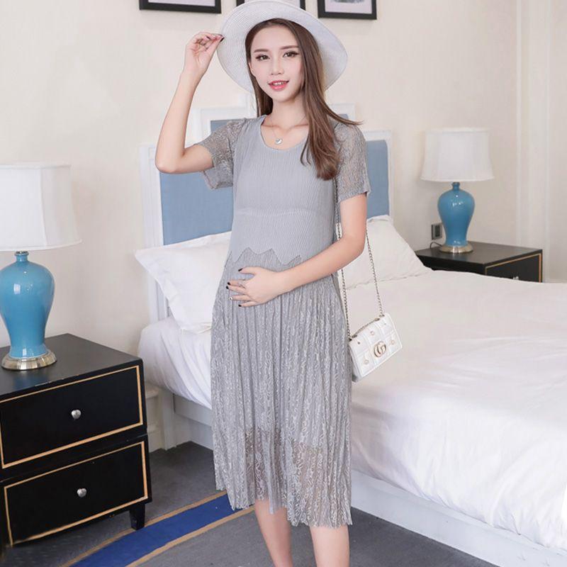 2354eca888d 2019 Summer Elegant Maternity Dress Cute Lace Patchwork Chiffon ...