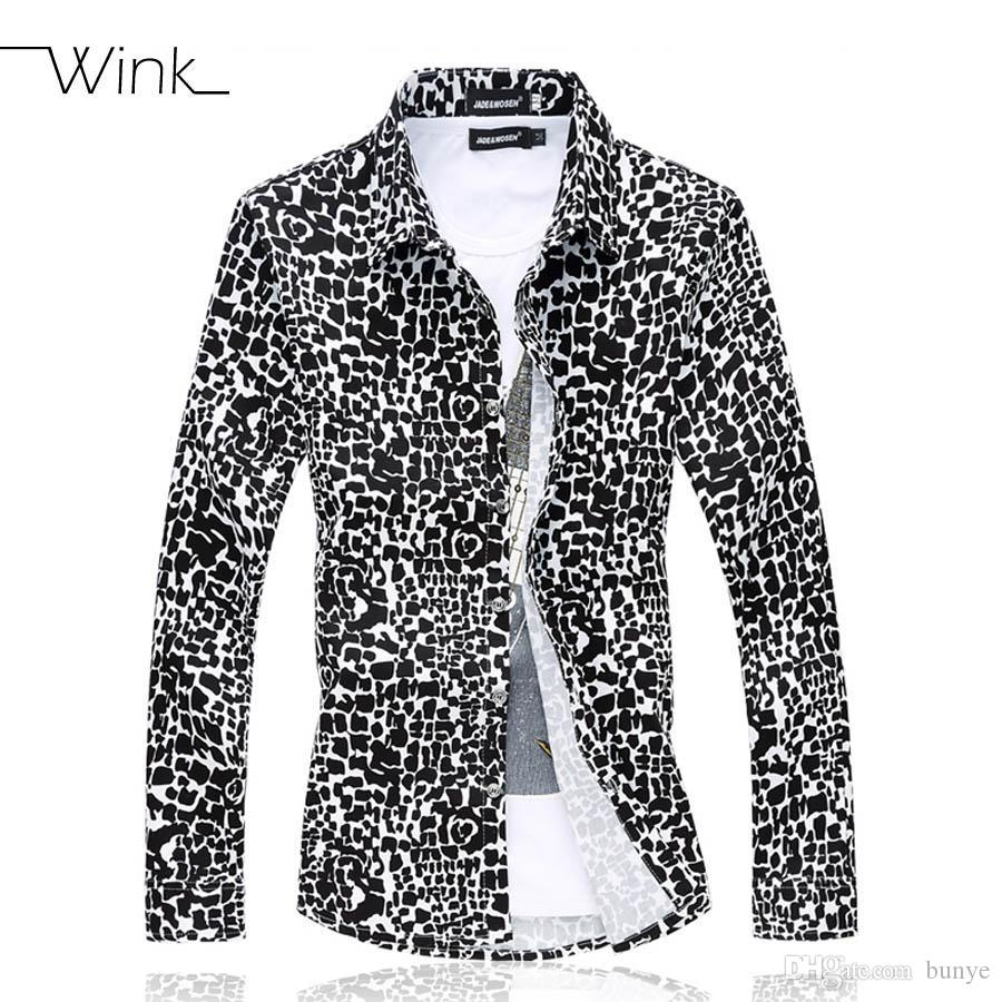 476628b354478 Wholesale- Leopard Men Casual Dress Shirt Big Size 5XL 6XL Long Sleeve Slim  Fit Shirts Camisa Social Blouse Male Clothes Spring Autumn E514 Shirt  Chinese ...