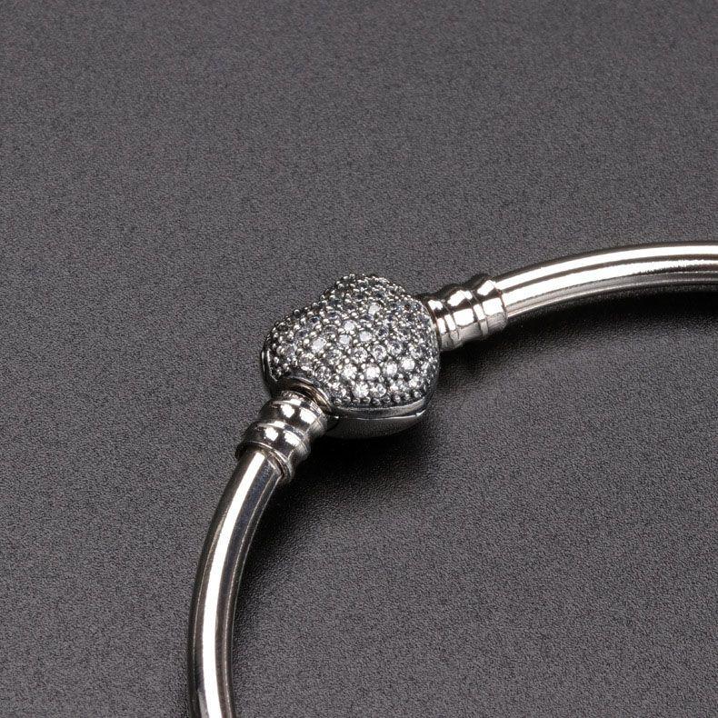 Heart shaped CZ Pave Clasp Bangle Bracelet sets Original Box for Pandora 925 Sterling Silver Charm Bracelets Women Gift Jewelry