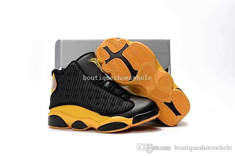 cbe67e73c29 Kids Retro Melo Basketball Shoes Kids Thirteen Melo PE Black Yellow  Sneakers Kids Size 28 35 Come With Box Good Running Shoes Boys Sports Shoes  Online From ...