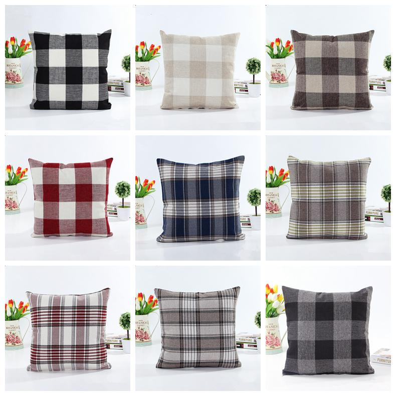45cm pillow case Linen big plaid sofa pillow cushion 9colors Pillow cover  Home Textiles Choose a variety of color household items AAA1389