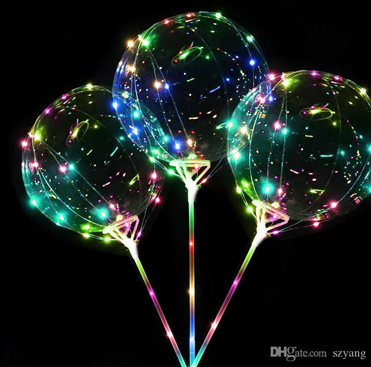 2018 new Style Bobo Balloon With 3M LED Strip Wire and sticks Led Balloons Wedding Decoration Supplies SN1162