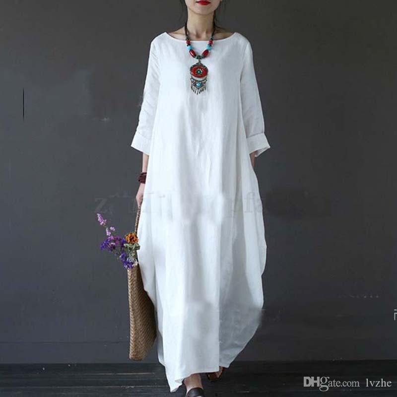 2018 novas mulheres das senhoras casual manga comprida solta folgado cotton linen longo maxi dress kaftan plus size