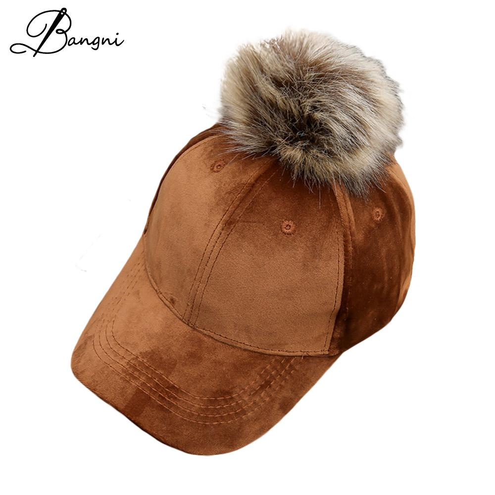 1d988259e56de 2017 New Winter Fur Snapback Velvet Baseball Cap For Women Big Pom Pom Hat  Hip Hop Cap Baseball Hat Adjustable Bone Casquette Embroidered Hats Leather  Hats ...