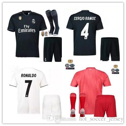 5bd97d6e7 2018 2019 Real Madrid Home Away 3RD MANS Adult Kits Jerseys with Patch 18  19 RealES Madrid RONALDO BENZEMA JAMES BALE Shirt Real Madrid BENZEMA JAMES  BALE ...