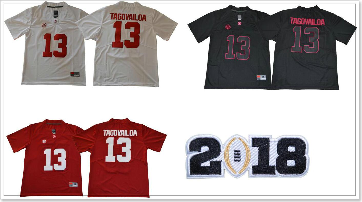 Neue 2018 Alabama Crimson Flut # 13 Tua Tagovailoa College Team American Football Pro Sport Trikots Shirts Uniformen Günstige Stitched Stickerei