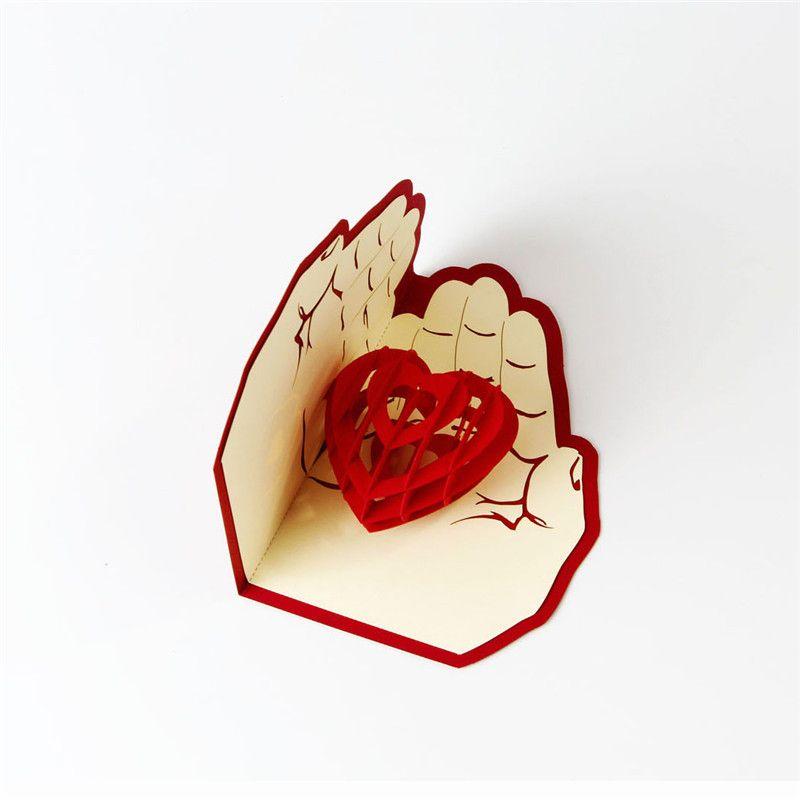 Amore in mano 3D Pop UP Biglietto di auguri San Valentino Anniversario Compleanno Natale Festa di nozze Carte Regali cartolina WX9-266